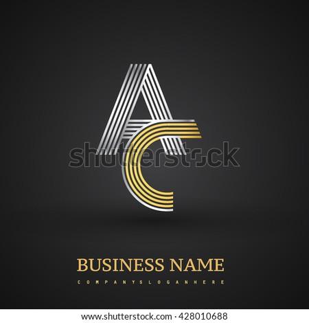 ac logo design. letter ac linked logo design. elegant silver and golden colored symbol for your business name ac design i