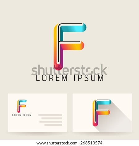 Letter Alphabet F Logo Icon Design Template Element. Vector Color Sign Easy Editable for Your Design. - stock vector