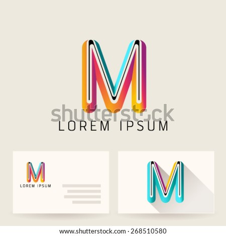 Letter Alphabet M Logo Icon Design Template Element. Vector Color Sign Easy Editable for Your Design. - stock vector