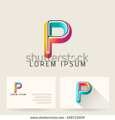 Letter Alphabet P Logo Icon Design Template Element. Vector Color Sign Easy Editable for Your Design. - stock vector