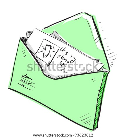 Letter and photos in green envelope cartoon icon. Sketch fast pencil hand drawing illustration in funny doodle style. - stock vector