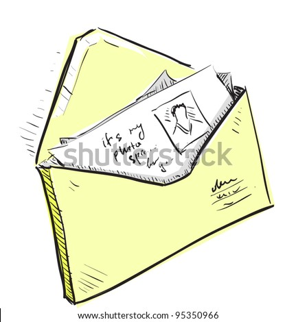 Letter and photos in yellow envelope cartoon icon. Sketch fast pencil hand drawing illustration in funny doodle style. - stock vector