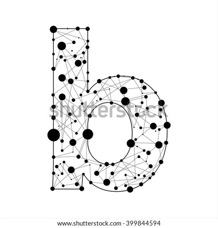 Letter B consisted of dots and lines, English alphabet - stock vector