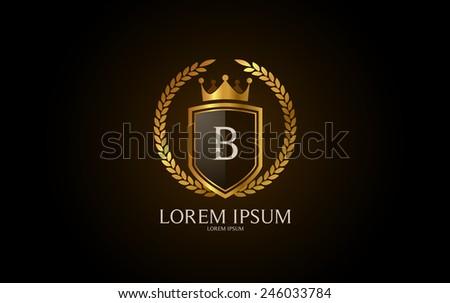 Letter B crest logo. Alphabet logotype vector design. - stock vector