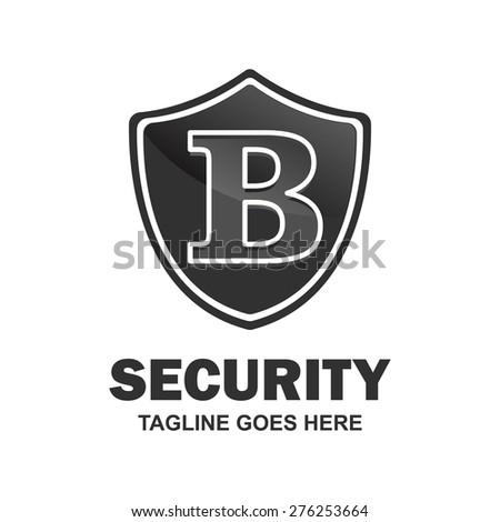 Letter b crest logo. Alphabet logotype vector design . heraldic shape shield . abstract symbol of security . black Security Shield . vector illustration - stock vector