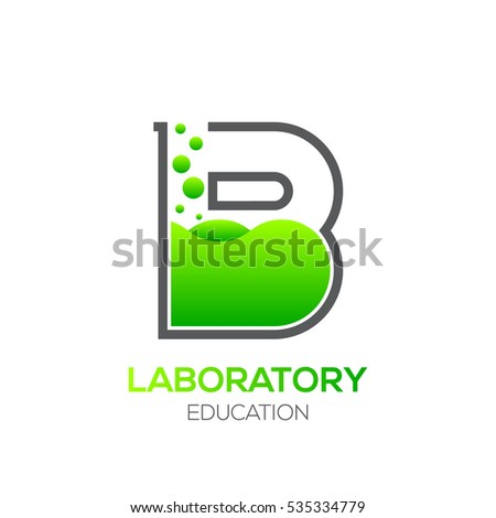 Letter B Green Color Laboratory Beaker Science Education Chemical