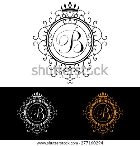 Letter B. Luxury Logo template flourishes calligraphic elegant ornament lines. Business sign, identity for Restaurant, Royalty, Boutique, Hotel, Heraldic, Jewelry, Fashion, vector illustration. - stock vector
