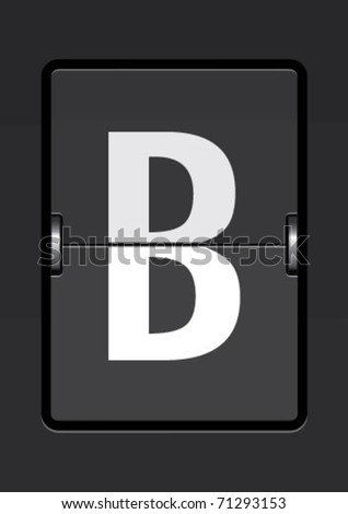 letter b on a mechanical timetable - stock vector