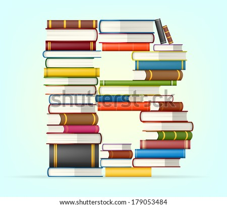 Letter B. Stack of multi colored books vector illustration