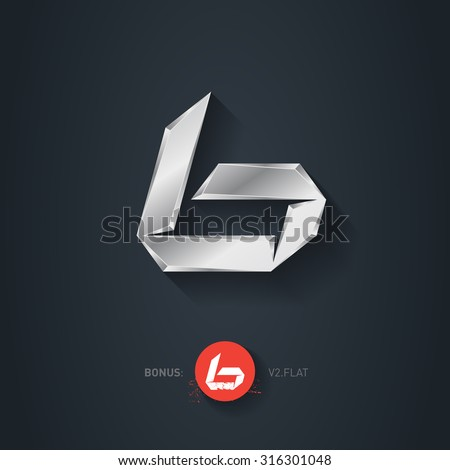 Letter B, Vector silver font. Elegant Template for company logo. Metallic Design element or icon. Pseudo origami style, including flat version. - stock vector