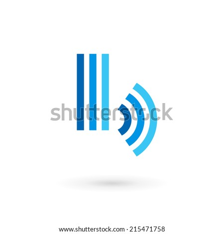 Letter B wireless logo icon design template elements. Vector color sign. - stock vector