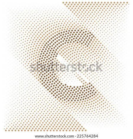 Letter C - Abstract dotted optical illusion alphabet  - stock vector