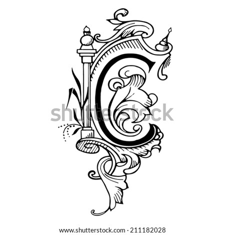Letter C c in the style of abstract floral pattern on a white background - stock vector
