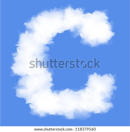 Letter C cloud shape - stock vector
