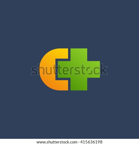 Letter C cross plus logo icon design template elements - stock vector