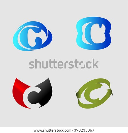 letter C logo template. Abstract icon