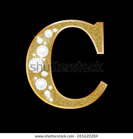 Letter C of gold and diamond  - stock vector