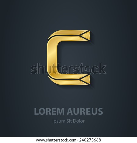 Letter C. Vector elegant gold font. Template for company logo. Design element or icon. - stock vector