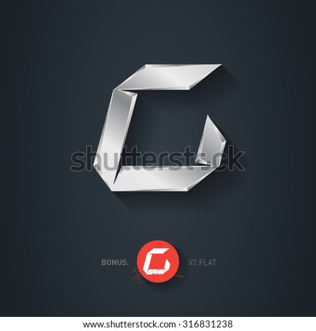 Letter C, Vector silver font. Elegant Template for company logo. Metallic Design element or icon. Pseudo origami style, including flat version. - stock vector