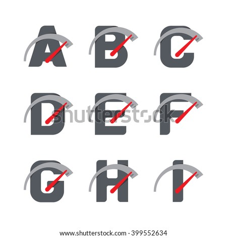 Letter Car Speedometer, Letter Meter Logo - stock vector