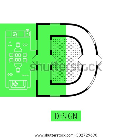 letter D, architectural plan, vector conceptual type. Thin line interior icons, top view