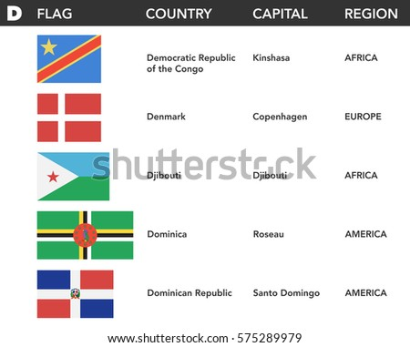 Letter D Flags World Name Capital Stock Vector