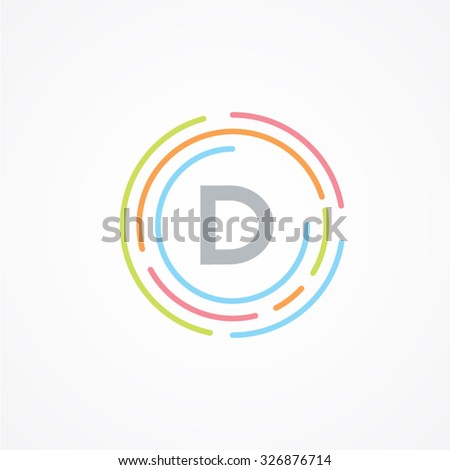Letter D logo design template,Business,Colorful creative sign,vector icon,lines letters,Typographic elements,modern,company name brand.round,rings,circle - stock vector