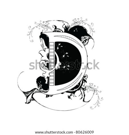 Letter D Ornate Black and White - stock vector