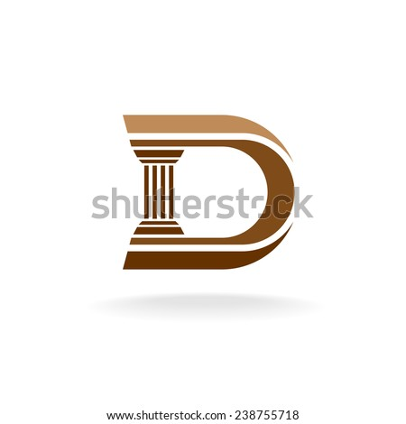 Letter D with column integrated sign. Lawyer, business, architecture design concept. - stock vector