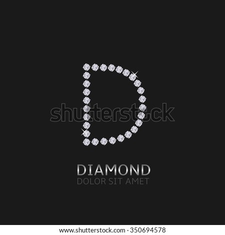 Letter D with gemstones. Luxury Diamond alphabet, Vector illustration - stock vector