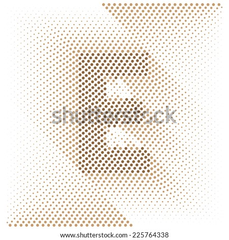 Letter E - Abstract dotted optical illusion alphabet  - stock vector
