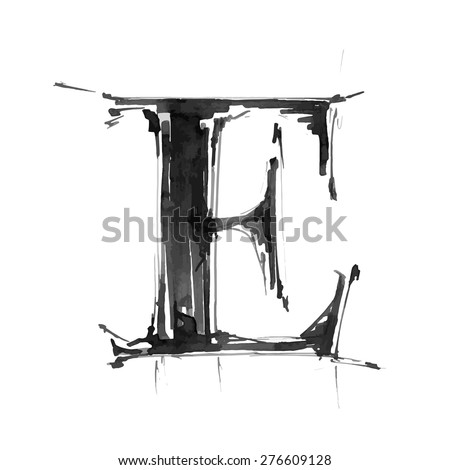 letter E. Alphabet symbol - grunge hand draw paint / vector illustration - stock vector