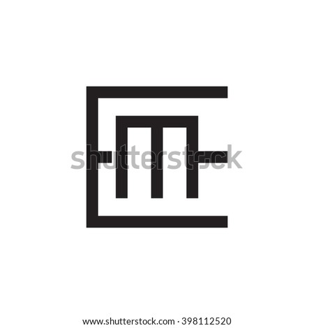 letter E and M monogram square shape logo black