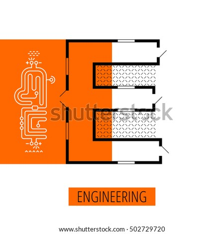 letter E, architectural plan, vector conceptual type. Thin line engineering element