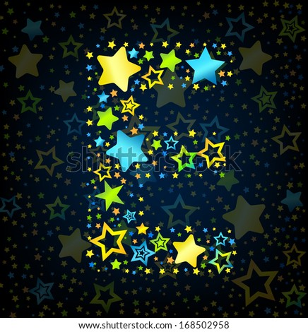 Letter E cartoon kid style vector font with  colored  stars - stock vector