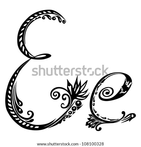 Letter E e in the style of abstract floral pattern on a white background - stock vector