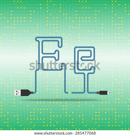 Letter E laid cable. USB blue cable, vector illustration. Background microchip - stock vector