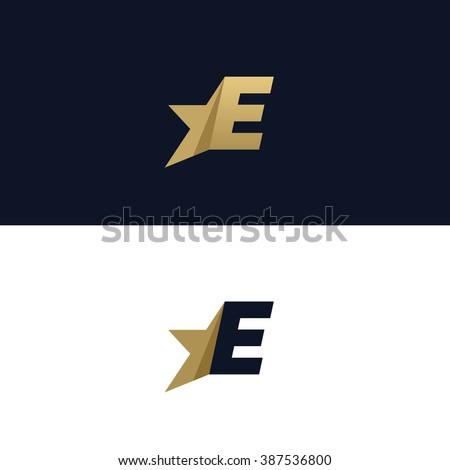 Letter E logo template with Star design element. Vector illustration. Corporate branding identity - stock vector