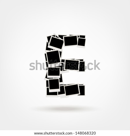 Letter E made from photo frames, insert your photos - stock vector