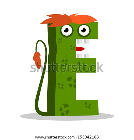 Letter E Monster, vector illustration - stock vector