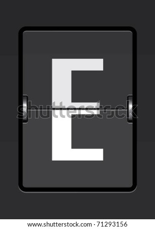 letter e  on a mechanical timetable - stock vector