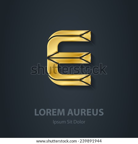 Letter E. Vector elegant gold font. Template for company logo. Design element or icon. - stock vector