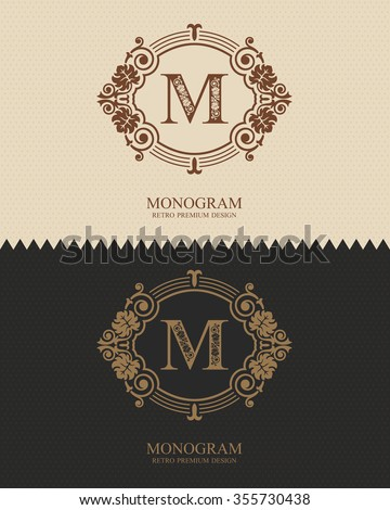 Letter emblem M template, Monogram design elements, Calligraphic graceful template, Elegant line art logo, Business sign for Royalty, Boutique, Cafe, Hotel, Heraldic, Jewelry, Wine - stock vector
