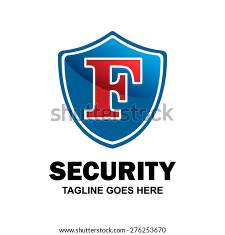 Letter f crest logo. Alphabet logotype vector design . heraldic shape shield . abstract symbol of security . blue Security Shield with red typography style . vector illustration - stock vector