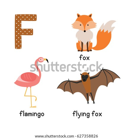 letter f cute animals flamingo flying stock vector 627358826