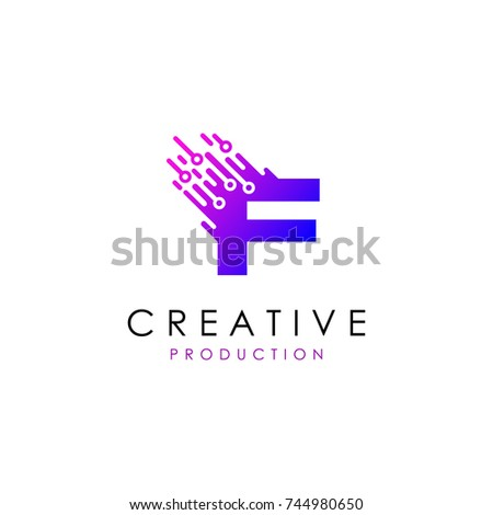 Letter F Electrical Technology Logo Stock Vector 744980650