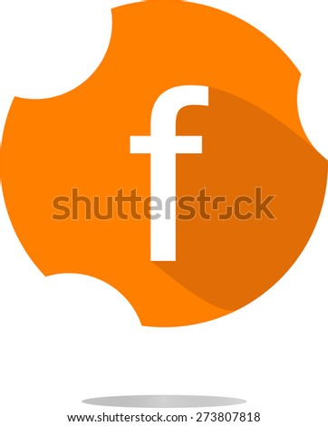 Letter f facebook in a flat  button vector illustration - stock vector
