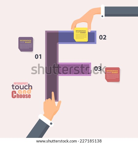 Letter F Flat Infographics Template and Web Elements - Business, Marketing Touch and Choose Concept Vector Design  - stock vector
