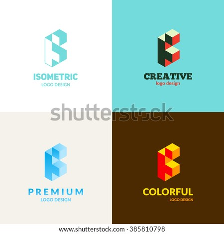 "Letter ""F"" isometric logo set. - stock vector"