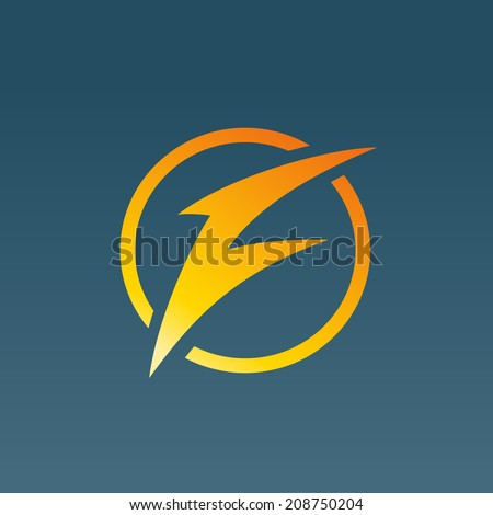 Letter F lightning logo icon design template elements. Vector color sign. - stock vector